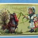 JOYFUL THANKSGIVING Turkey & Pilgrim Child Postcard - 1910 paper