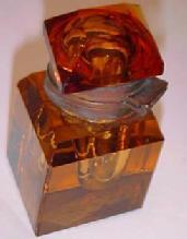 AMBER Inkwell Cut Glass DIAMOND Shape  - Glass
