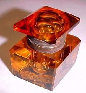 AMBER Inkwell Cut Glass DIAMOND Shape  - Glass