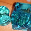 ELECTRIC BLUE INKWELL Cut Glass   - Glass