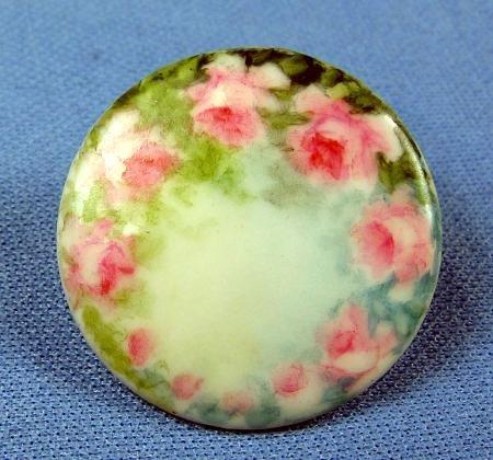 vintage Hand Painted Victorian Porcelain Button - Sewing Collectible