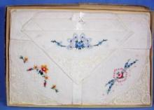 old Embroidered Handkerchief Group - NEW unused Vintage Lace in Original Gift Box - textile