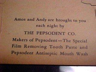AMOS and ANDY Pepsodent Die Cut  - Advertising