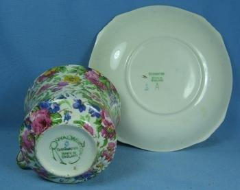 Royal Winton Pottery Porcelain CHINTZ Cup & Saucer - Vintage Grimwades SUMMERTIME Pattern
