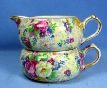 Pottery  Nelson Ware CHINTZ Stacking Sugar Bowl and Creamer - Vintage Porcelain ROSE TIME Pattern