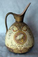 Doulton Burslem Snakeskin Tapestry EWER ~ Artist Signed Decorated with Musical Instruments -  Huge Art Pottery porcelain