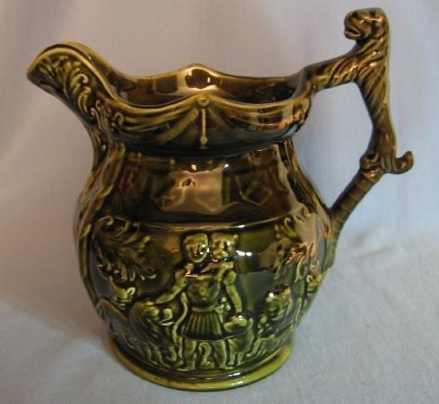 Brown Glaze Stoneware Pitcher - Arthur Wood LION Handle Pottery