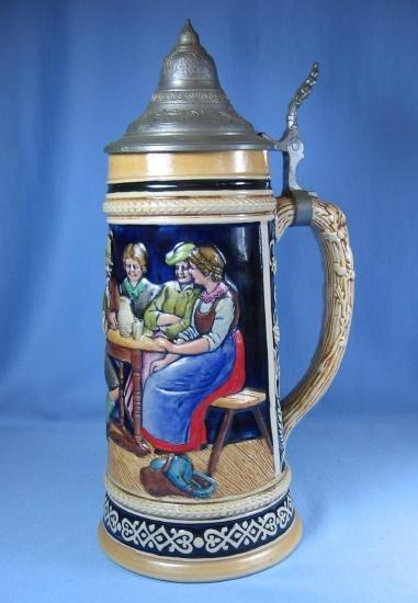 old Vintage German STEIN with Conical Lid High Relief Pottery