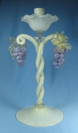 Salviati Lattimo Figural Grape Candleholder ~ Italian Art Glass