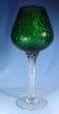 art glass  Emerald Glass Oversize Goblet or Chalice with Twisted Stem Art Glass