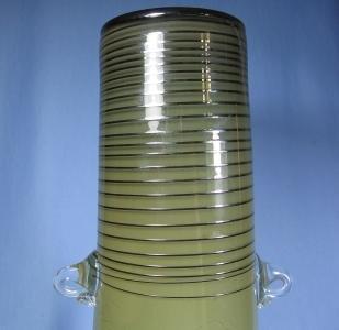 Italian  Art Glass Vase - Crackle and Decorated Italian Glass Eames Era