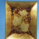 Artist Signed Enameled & Jeweled Copper Tray - Eames Era Metalware