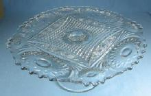 pattern glass  PEDESTAL Cake Plate - Early American Pattern Glass