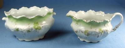 Pottery  Porcelain Sugar Bowl & Creamer - Soft Lime Green Flowers