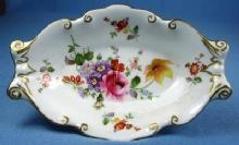 Royal Crown Derby Pottery FLORAL Floral Bon Bon Dish - Hand Painted Porcelain