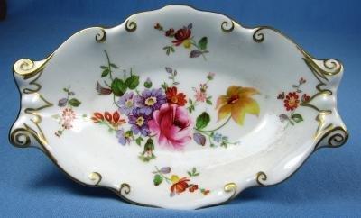 Royal Crown Derby Pottery FLORAL Floral Bon Bon Dish - Hand Painted Porcelain