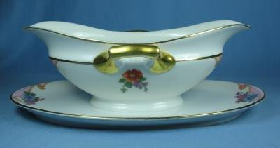 Czechaslovakia EPIAG Pottery Porcelain GRAVY Boat with UNDERPLATE - Colorful Floral Pattern