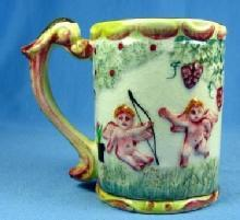 CUPID Angel Pottery Porcelain MUG - Heavy Embossed Mug or Lemonade Cup