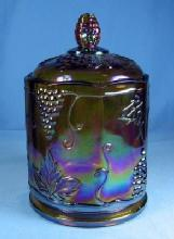 Indiana Carnival Glass HARVEST GRAPE Pattern Covered Jar or Humidor