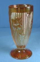 IRIS  HERRINGBONE Carnvinival Glass Footed Tumbler