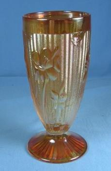 IRIS  HERRINGBONE Carnvinival Glass Footed Tumbler