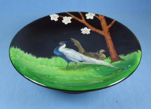 RS Germany PHEASANT Game Plate Pedestal Compote - Antique Porcelain