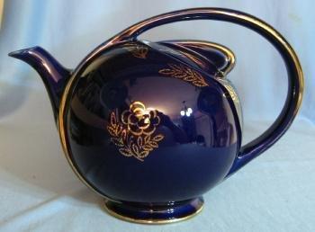 Hall AIRFLOW Teapot - Vintage Cobalt Blue Pottery Tea Pot