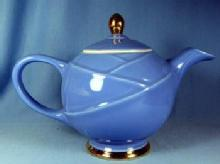 Hall MODERNE Marine Blue Teapot with Gold Accents - Vintage Pottery Tea Pot