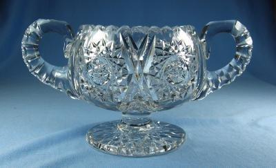 cut glass  American Brilliant Pedestal Footed CUT GLASS Sugar Bowl