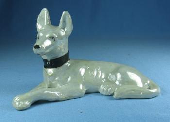 German SHEPHARD Dog Figurine - Vintage Japan Luster Porcelain
