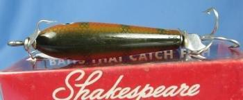 old Shakespeare SPINNING SLIM JIM Fish Lure- Near Mint in Original Box  - Vintage Wood sporting Bait