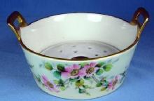 Limoges BUTTER TUB - Wild Rose or Moss Rose Pattern Porcelain Dish