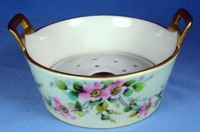 Limoges BUTTER TUB - Wild Rose or Moss Rose Pattern Porcelain Dish