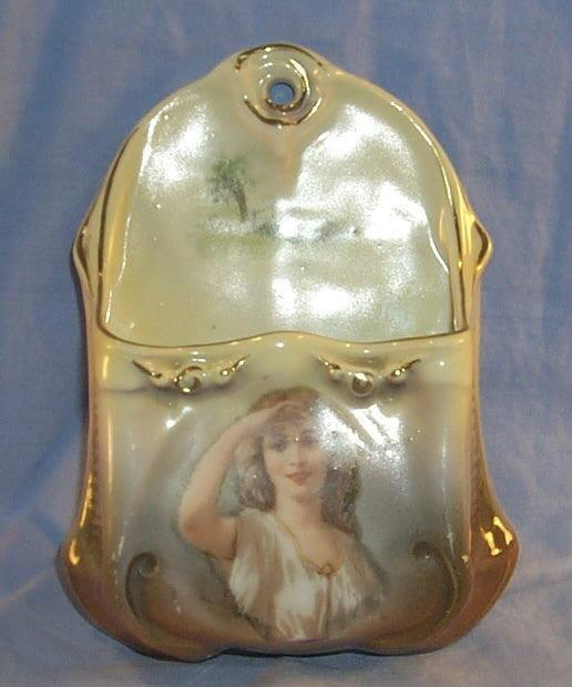 Royal Bayreuth Tapestry PEERING LADY Porcelain Hanging Match Holder