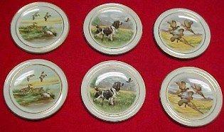 DUCK Pheasant  Bird Dog Butter Patty Set (6) - Porcelain/ Fine China