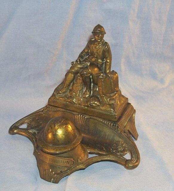 WORLD WAR I French Soldier Bronze Washed Cast Metal Inkwell - Metalware