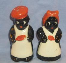 Occupied Japan Orange Decorated Porcelain Chef & Mammy Salt and Pepper Shaker Set - Ethnographic