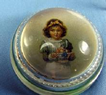 Glass Paperweight - Lithograph of Child with Bowl of Fruit