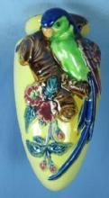 PARROT Wall Pocket - Vintage Art Pottery Majolica Bird Pocket