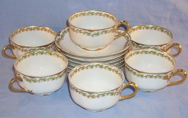 Six Sets LIMOGES Gold Trimmed Porcelain Cups & Saucers