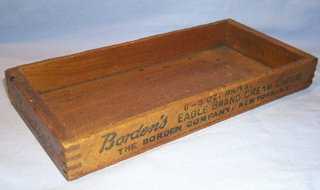 Wooden Borden's EAGLE BRAND CREAM CHEESE  Cheese Box - Advertising