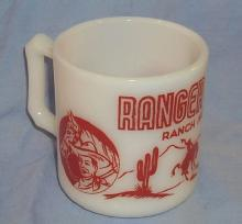 Red RANGER JOE Milk Glass Ranch Mug