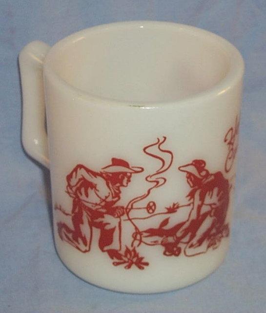 Red HOPALONG CASSIDY  Milk Glass Advertising Mug
