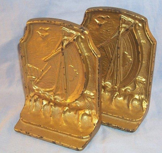 Viking SAILING SHIP Gold Painted Cast Iron Bookends - Metalware