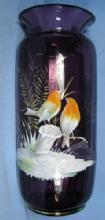 ART GLASS ENAMEL on Glass Amethyst Art Glass Vase