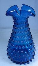 FENTON GLASS VASE vintage Peacock Blue Hobnail Vase Unusual Spouted Lip - Fenton Glass