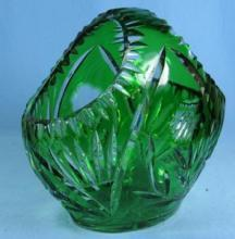 Bohemian Cut Glass BASKET - Green to Clear Crystal