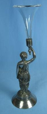 Figural Gothic Lady POSY Vase - Meriden Silver plate