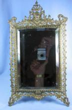 old Vintage Ornate Brass Mirror - Vanity old Framed Beveled Mirror Easel  - metalware