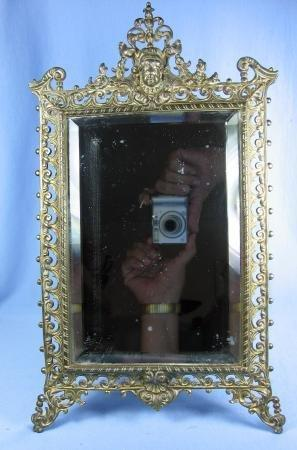 old Vintage Ornate Brass Mirror - Vanity old Framed Beveled Mirror Easel  - metalware